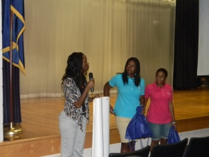 Lauren and Victoria speaking at a middle school in South Carolina